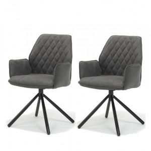 Set de 2 scaune tapitate Coleshill, antracit/negru, 89 x 62 x 59 cm