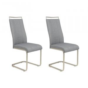 Set de 2 scaune tapitate Griffing, gri/argintiu, 102 x 43 x 56 cm