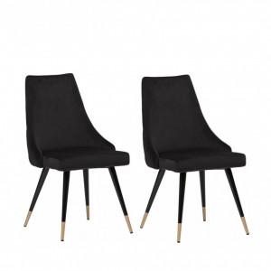 Set de 2 scaune tapitate Piccolo, catifea, negru, 52,07 x 62,48 x 88,39 cm