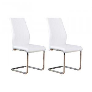 Set de 2 scaune tapitate Samirah, Alb, 97 x 43 x 57,5 cm