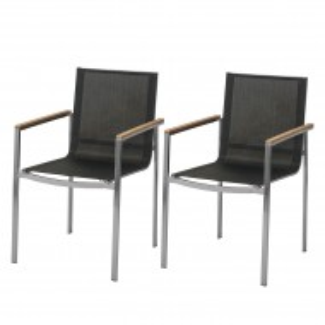 Set de 2 scaune Teakline VII textile/otel inoxidabil/lemn masiv, negru, 55 x 86 x 58 cm