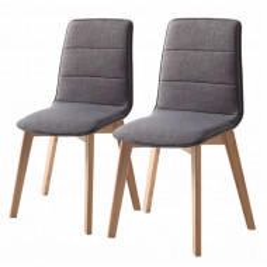 Set de 2 scaune Vallrun tapitat, tesatura/stejar masiv, gri inchis, 48 x 93 x 61 cm