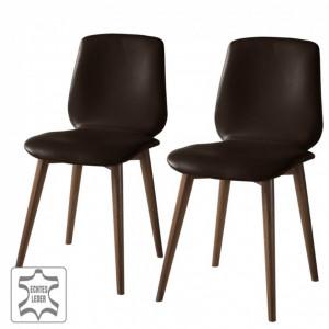 Set de 2 scaune Wilga piele naturala/lemn masiv, maro inchis, 43 x 84 x 55 cm