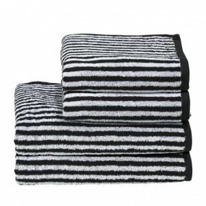 Set de 4 prosoape Day Stripes I, alb/negru