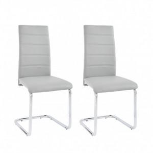 Set de 4 scaune ADORA din piele sintetica - gri/crom