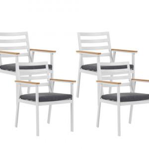 Set de 4 scaune de gradina Cavoli, alb/gri, 54 x 60 x 82 cm
