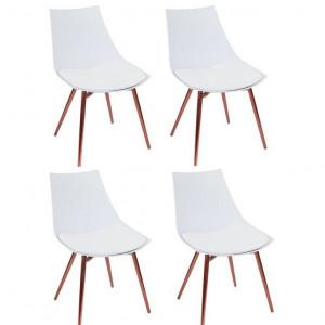 Set de 4 scaune Rico, metal, albe, 78 x 47 x 56 cm