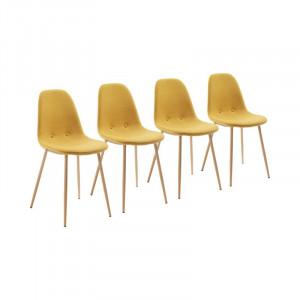 Set de 4 scaune tapitate Lamply, galben, 87 x 40 x 47 cm