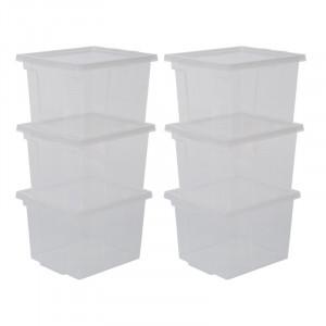 Set de 6 cutii pentru depozitare, transparent, 18,5 x 29 x 24 cm
