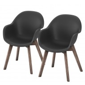 Set de 6 scaune de gradina Volcano plastic/lemn masiv de salcam, negre, 58 x 83 x 59 cm