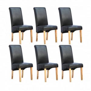 Set de 6 scaune de living Cambridge, piele sintetica neagra, picioare lemn natur