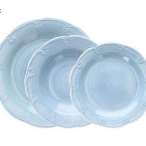 Set de farfurii Shabby albastru deschis, 18 buc