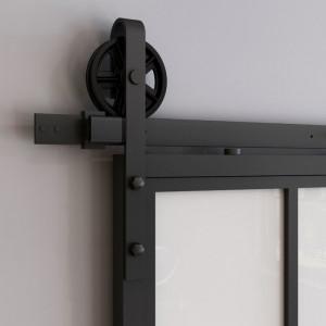Set de feronerie pentru usa glisanta, metal, neagra, 200 x 23 x 3 cm