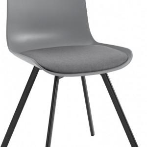 Set de living DIno 1/ Lucky 4 scaune si o masa, gri/alb, 140 x 80 x 75 cm