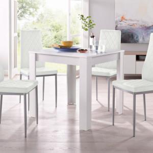 Set de living Lynn/Brooke 4 scaune si o masa, alb, 80 x 80 x 75cm