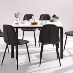 Set de living Sabine/Luna 4 scaune si o masa din lemn/metal/piele sintetica, negru/alb