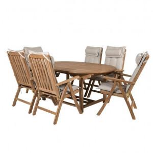 Set de masa extensibila si 6 scaune pliante Baek, lemn masiv