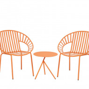 Set de masuta si 2 scaune LICATA, metal, portocalii