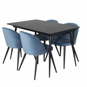 Set de o masa extensibila si 4 scaune, negru/albastru
