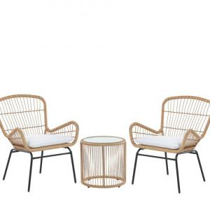 Set de o masa si 2 scaune Labico, negru/maro
