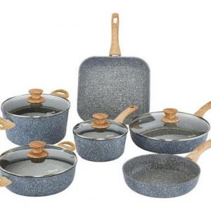 Set de vase de gatit Pierre Gourmet cu maner de lemn, 10 piese