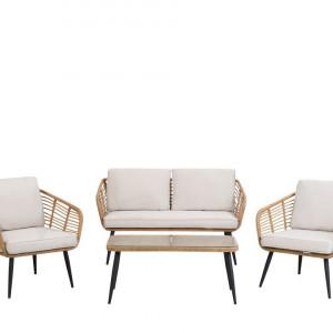 Set lounge Corinth, ratan, bej/alb/negru