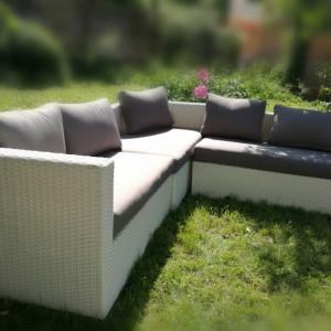 Set lounge de gradina XXL, ratan, gri/alb