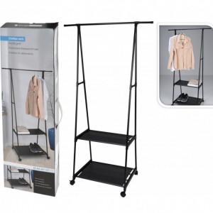 Stand metalic pentru haine Karll, cu roti, 55-85 x 45 x 157 cm