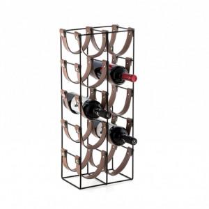 Suport pentru 10 Sticle de Vin KARLL, din metal si piele, 24x16x60cm