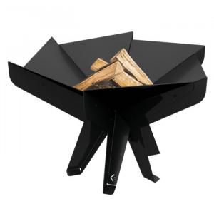 Suport pentru aprins focul hexagonal, metal, negru, 41 x 66 x 57 cm