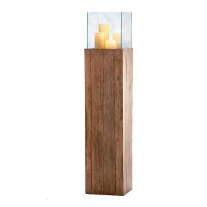 Suport pentru lumanare, lemn/sticla, maro, 120 x 25 x 25 cm