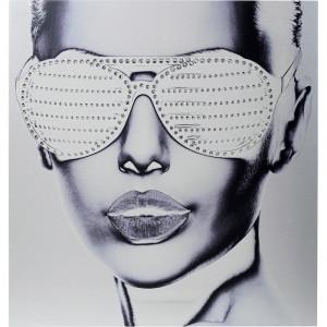 """Tablou """"Alu Cool Girl"""", metal, gri, 120 x 120 x 4 cm"""