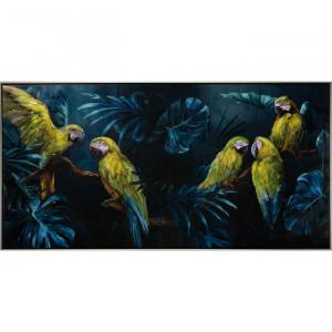 "Tablou ""Papagali în junglă"", panza, 72,5 x 142,5 x 4,5 cm"