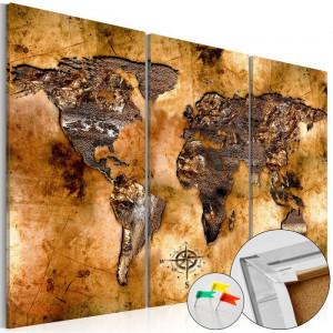 Tablou, 3 piese, lemn, auriu, 80 x 120 x 1,4 cm