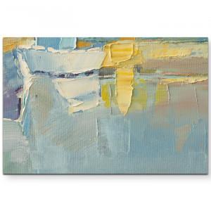 Tablou, panza, albastru/galben, 80 x 120 cm