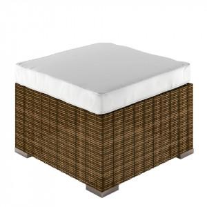 Taburet Joye tesatura/poliratan/aluminiu, alb/maro, 60 x 43 x 60 cm