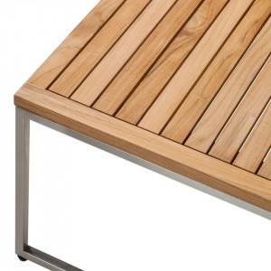Taburet Teakline din lemn masiv de tec/tesatura/otel inoxidabil, negru, 70 x 32 x 70 cm
