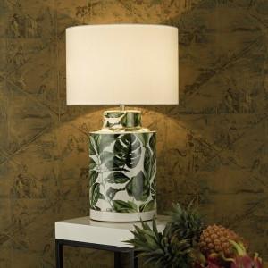 Veioza Tate, 40 cm, ceramica, verde/alb