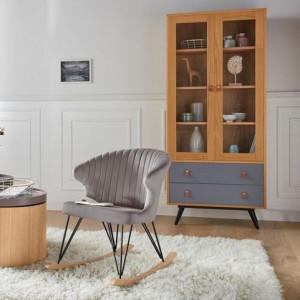 Vitrina Andas, lemn masiv/ MDF, 80 x 40 x 180 cm