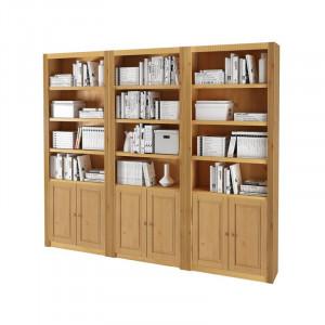 Biblioteca Elona, lemn masiv, maro, 213 x 245 x 27 cm