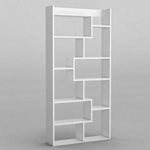 Biblioteca Jame, PAL, alb, 90 x 182 x 22 cm