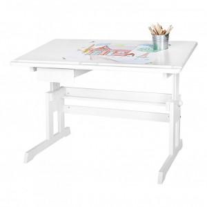 Birou pentru copii Lena lemn masiv de molid, alb, 108 x 70 x 58 cm