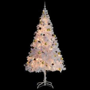 Brad de Craciun artificial, alb, cu 300 de lumini, 210 x 45 cm