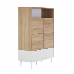 Bufet Horizon, MDF/ lemn, alb, 141 x 90cm