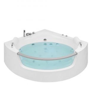Cade de baie cu hidromasaj Mangle, LED, alb/argintiu, 63 x 136 x 187 cm