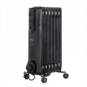 Calorifer electric cu termostat reglabil, oțel, 1500 wați, negru,