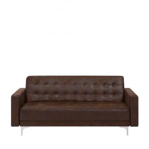 Canapea extensibila Aberdeen, piele ecologica, maro, 83 x 186 x 88 cm