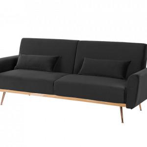 Canapea extensibilă din catifea neagră EINA, 210 x 86 cm