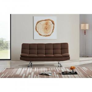Canapea extensibila Oakland, textil, maro, 85 x 180 x 87 cm