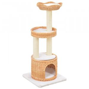 Casa pentru pisici Quezada, maro/alb, 94 x 40 x 40 cm